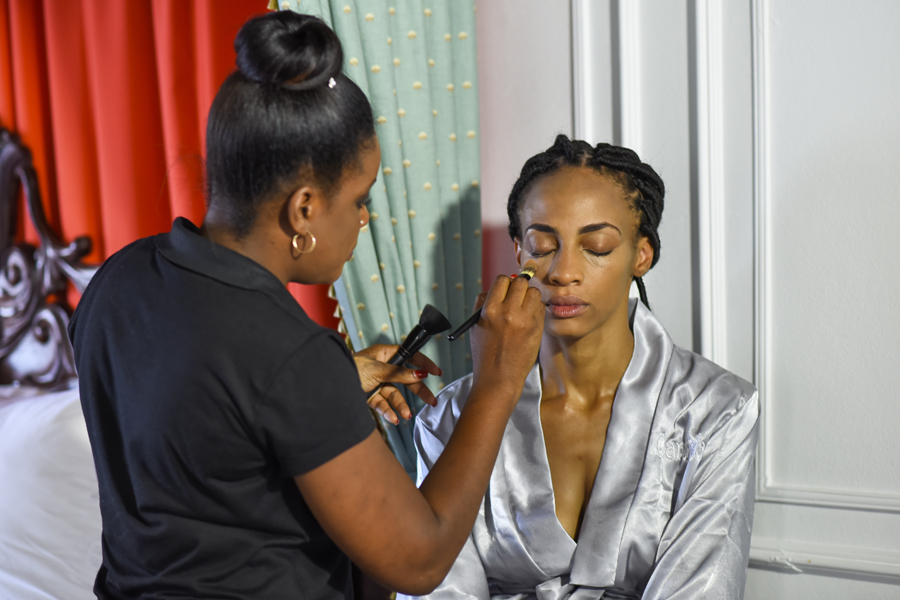 blending of foundation is important rubbing down to the neck so that the face look the same as the body . Jamaica Wedding Makeup Artist. Some makeup look different in the photographer's photos because they reflect light so I use makeup that work well with photographer's flash.